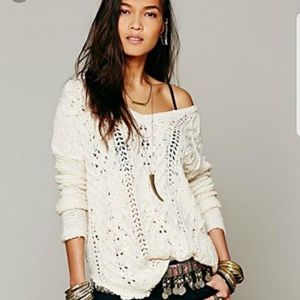 Free People cross my heart open knit vneck…